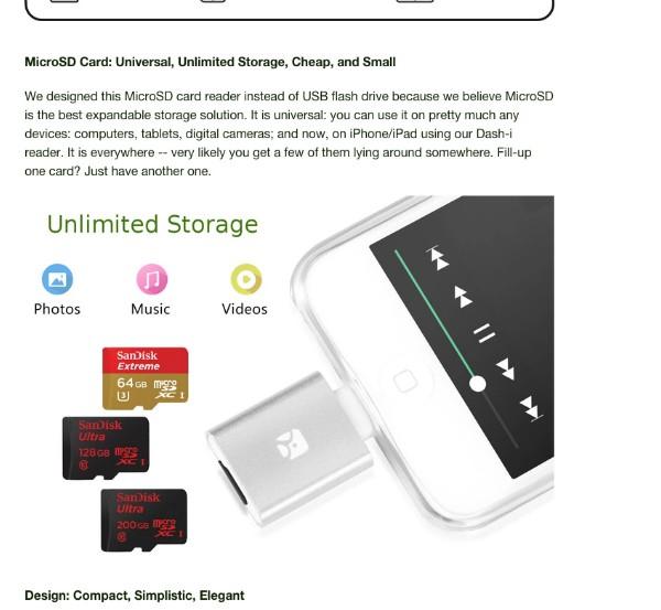 iPhoneやiPadでSDカードを読み込むことを可能にするガジェット「Dash-i MicroSD Reader」